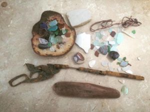 Lake Erie beach glass, china, driftwood, and treasures